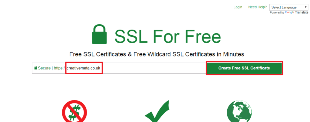 SSL for Free Website Example