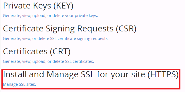 An example of what button to click while adding a new SSL (HTTPS) Certificate