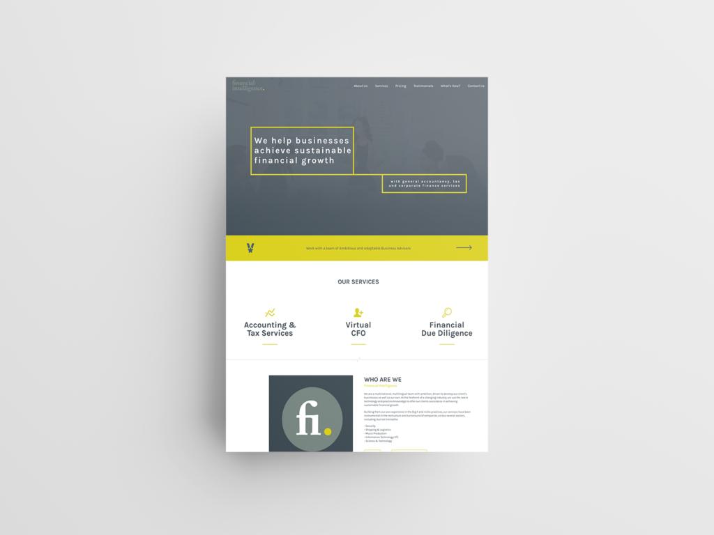 Financial Intelligence Website Mockup 2