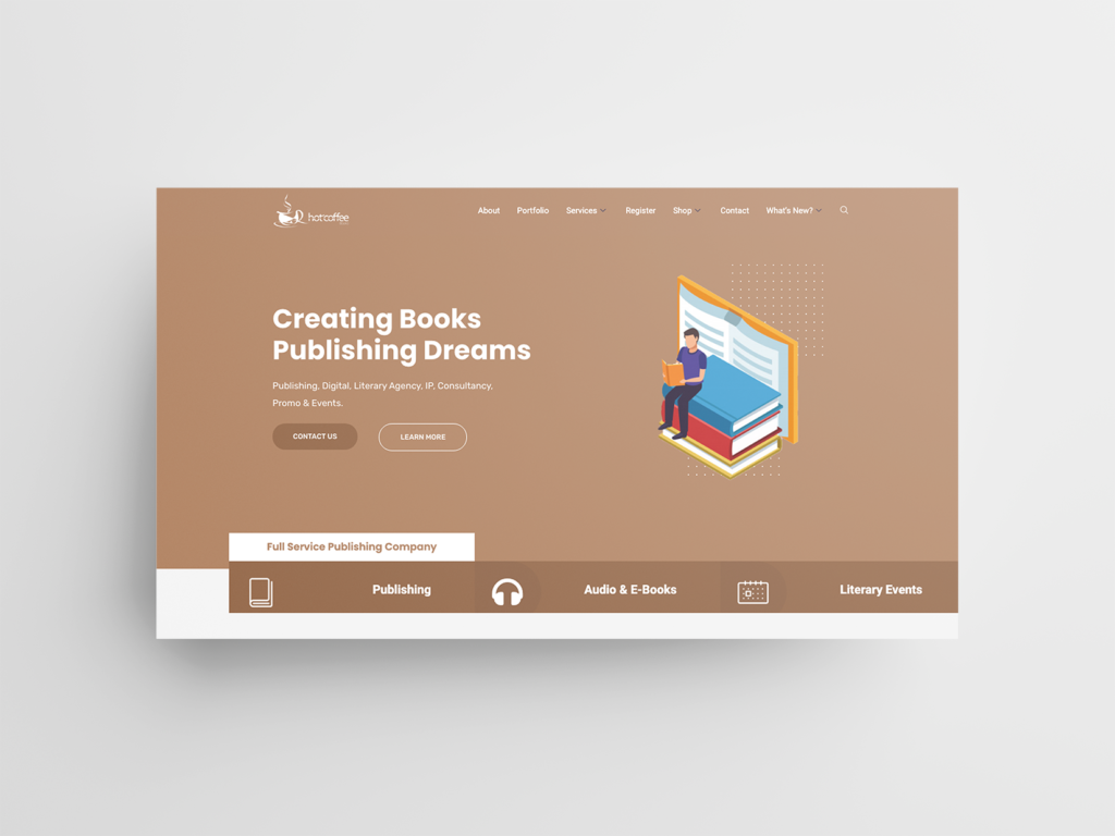 Hot Coffee Books - Website Mockup
